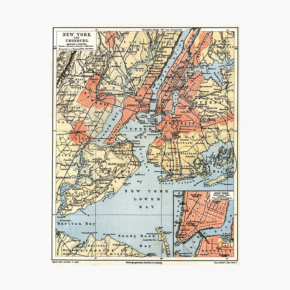 Vintage Map of The New York City Vicinity (1890)  Lámina fotográfica