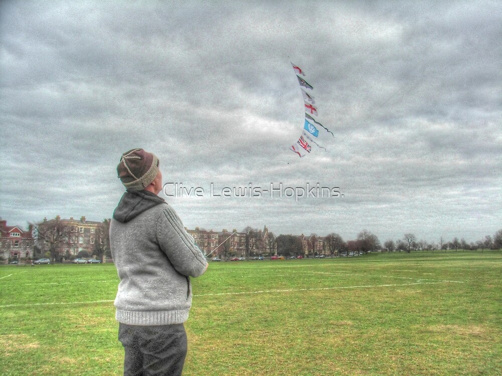 The Kite Flag Flyer of Bristol Durdham Downs. by Clive Lewis-Hopkins.