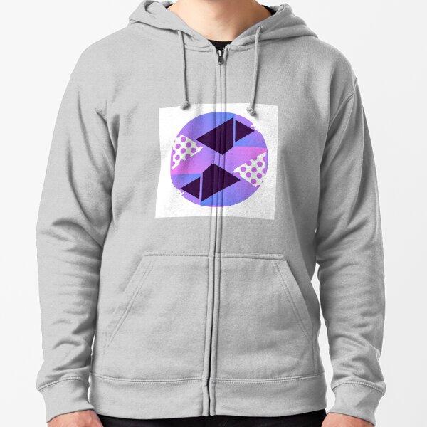 Purple Geometric Shaped Design Spring Zipped Hoodie