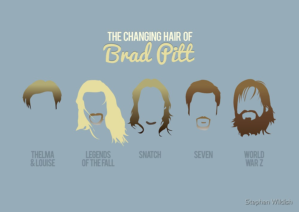 The changing hair of Brad Pitt by Stephen Wildish
