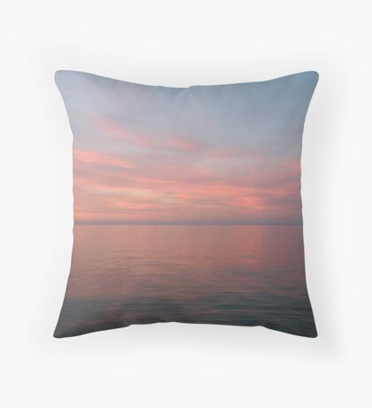 Pink Clouds over Lake Michigan  Throw Pillow