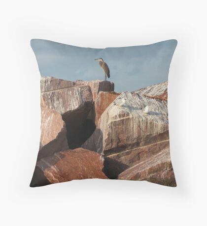 Great Blue Heron on Red Rock Throw Pillow