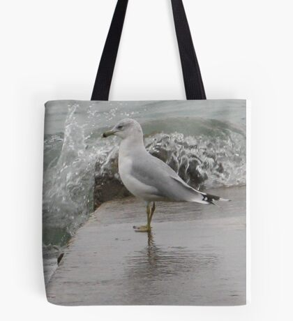 Seagull on end of pier. Tote Bag
