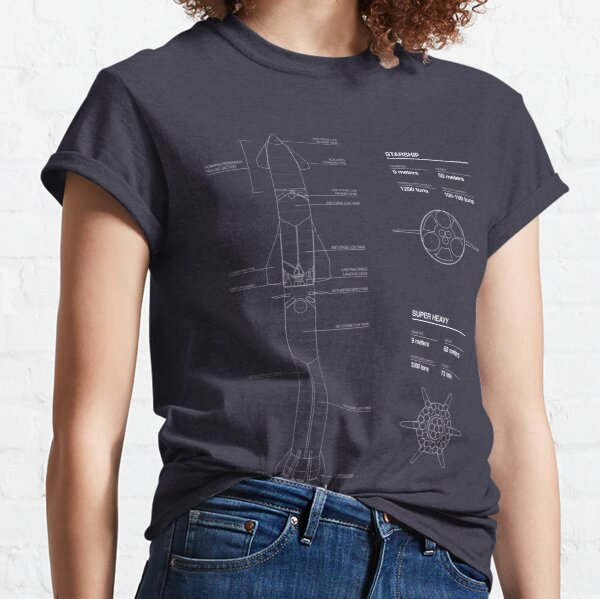 Starship SpaceX Blueprint 2020 T-shirt classique