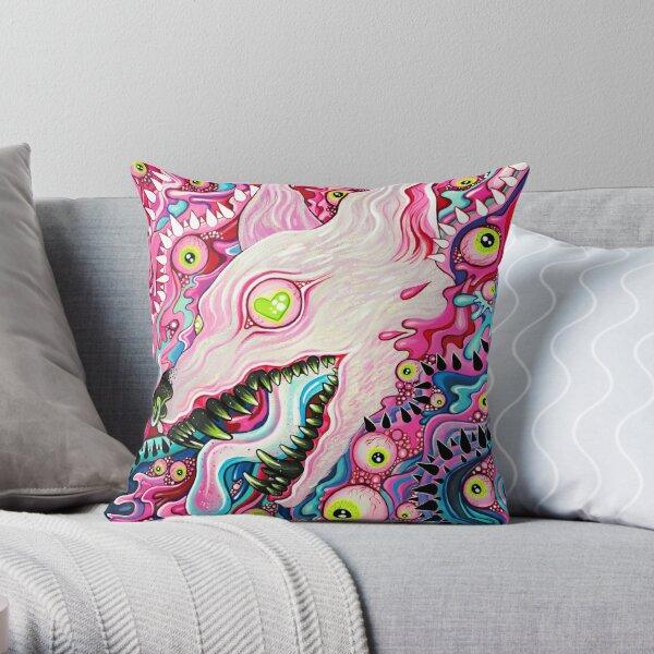 Glitterwolf Acrylic Painting Throw Pillow
