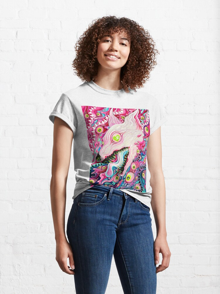 Alternate view of Glitterwolf Acrylic Painting Classic T-Shirt