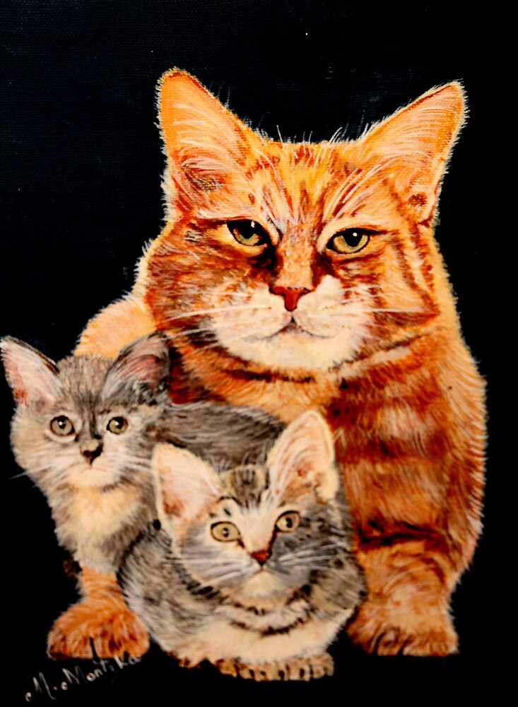 Mom Cat and Two Kittens by mhm710