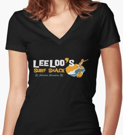 Lee Loo's Surf Shack Women's Fitted V-Neck T-Shirt