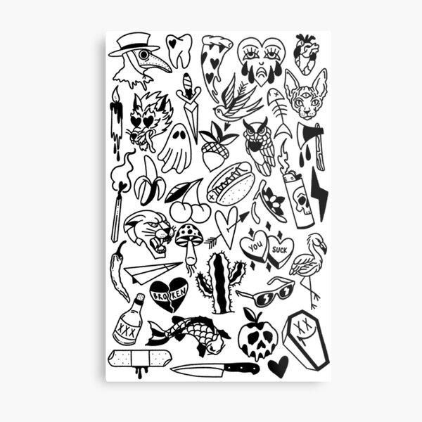 Tattoo Flash Sheet Metal Prints Redbubble