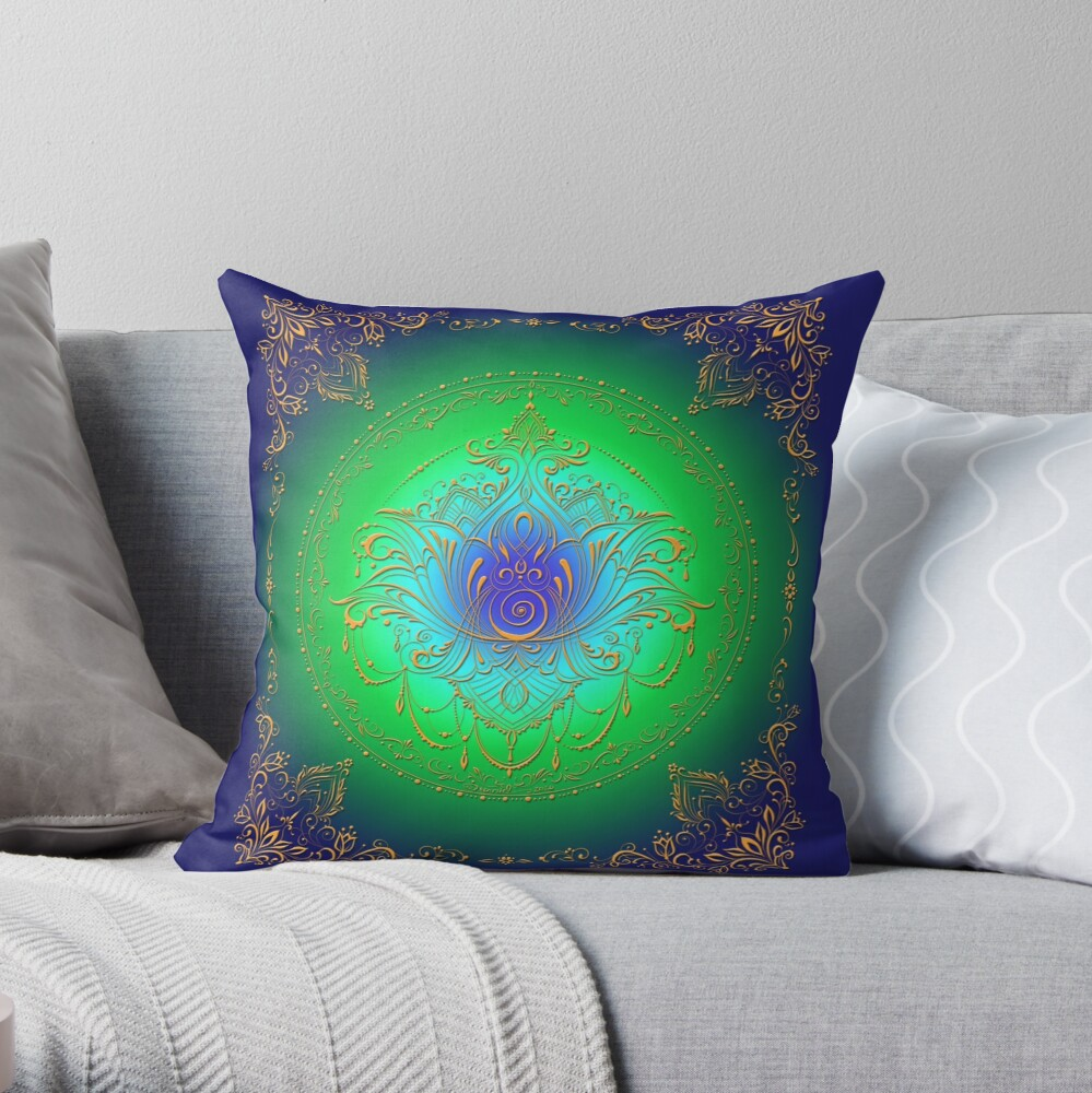 Lotus Goddess in Blue/Green Throw Pillow