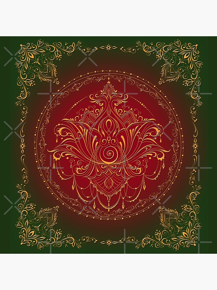 Lotus Goddess in Deep Red and Green by dreamie09