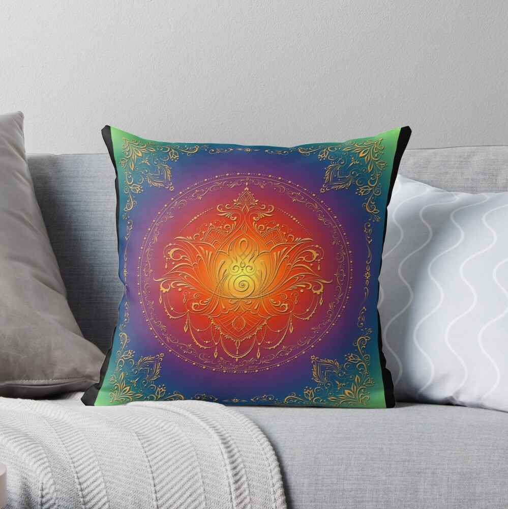 Lotus Goddess in blooming Rainbow Chakra Throw Pillow