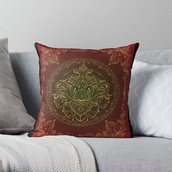 Lotus Goddess in Deep Red and Green Throw Pillow