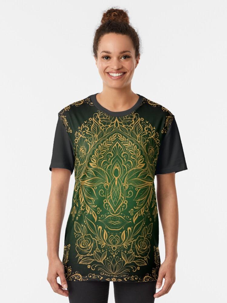Alternate view of Dreamie's Green Goddess - Dark Graphic T-Shirt