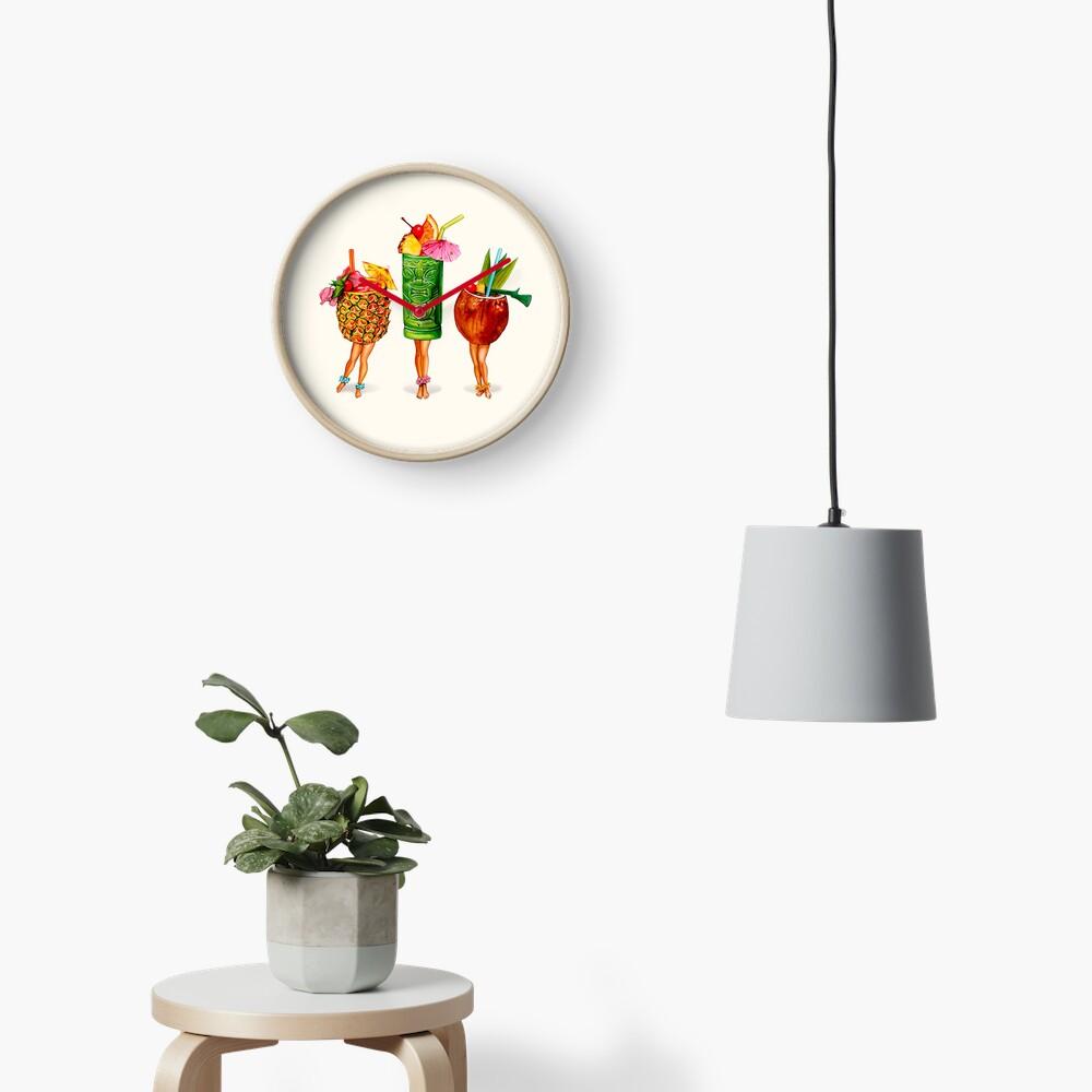 Tiki Cocktail Pin-Ups Clock