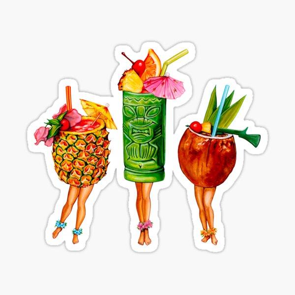 Tiki Cocktail Pin-Ups Sticker