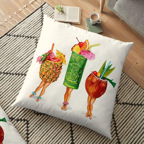 Tiki Cocktail Pin-Ups Floor Pillow