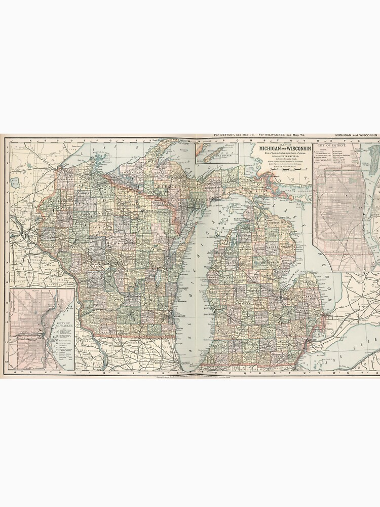 Michigan And Wisconsin Map.Vintage Map Of Michigan And Wisconsin 1891 Men S Baseball T