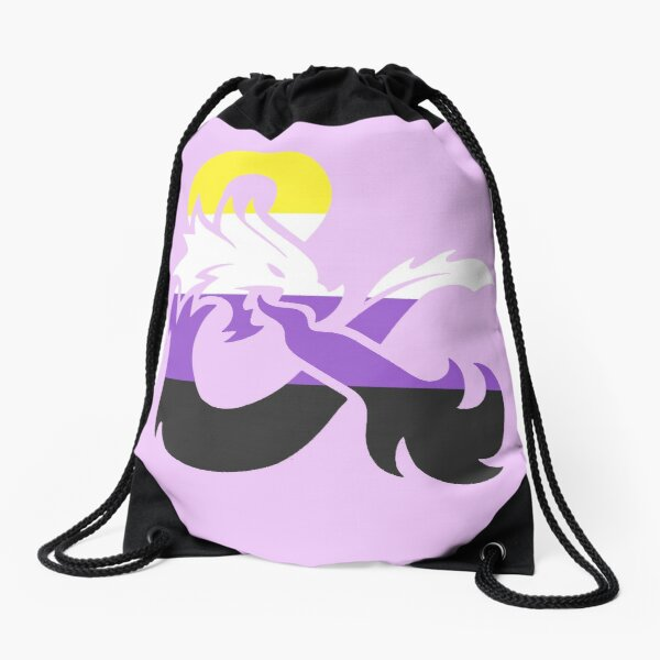 Nonbinary Pride Dungeons and Dragons Logo Drawstring Bag