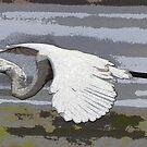 Heron in flight in watercolor by FSULADY