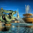 Fountains in Trafalgar Square - London by NeilAlderney