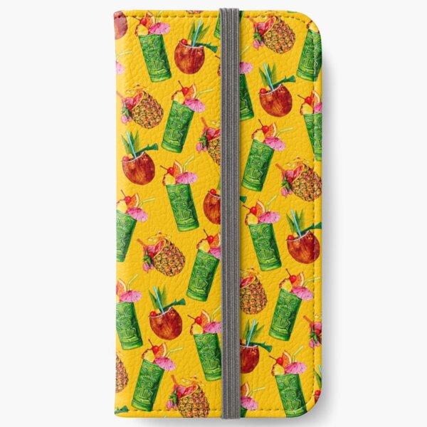 Tiki Cocktail Pattern - Yellow iPhone Wallet
