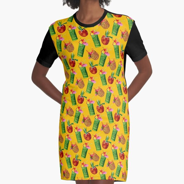 Tiki Cocktail Pattern - Yellow Graphic T-Shirt Dress