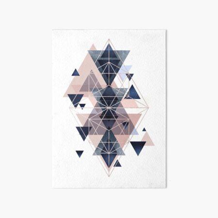 Blush Navy Geometric Art Board Print