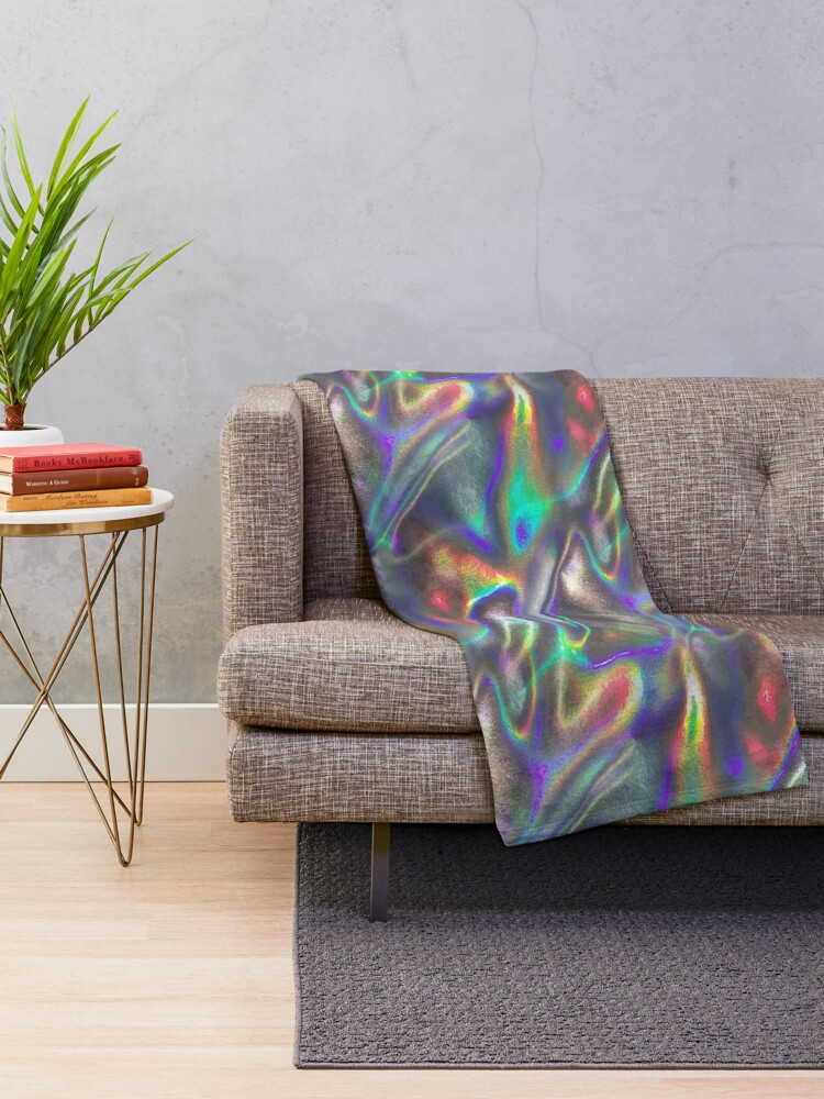Alternate view of  holographic print Throw Blanket