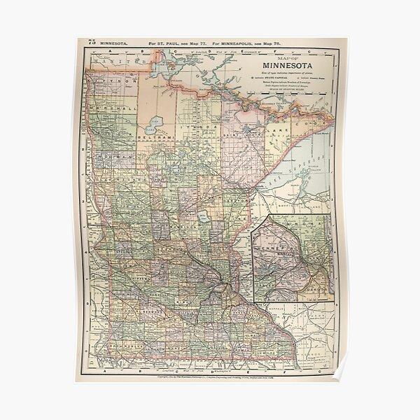Vintage Map of Minnesota (1891) Poster