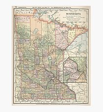 Vintage Map of Minnesota (1891) Photographic Print