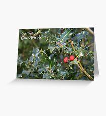 God Jul - Swedish Christmas Card (Holly) Greeting Card