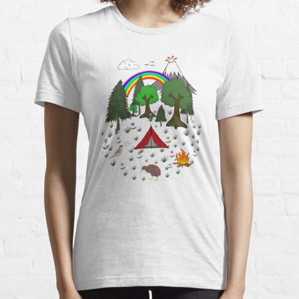 New Zealand Camping Scene with Kiwi Essential T-Shirt
