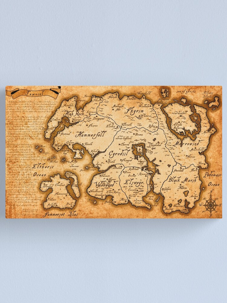 Alternate view of Map of Tamriel - Elder Scrolls IV Oblivion Canvas Print