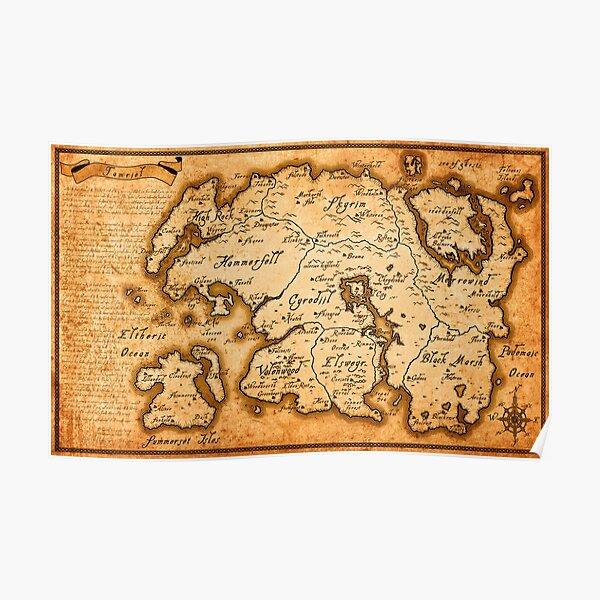 Map of Tamriel - Elder Scrolls IV Oblivion Poster