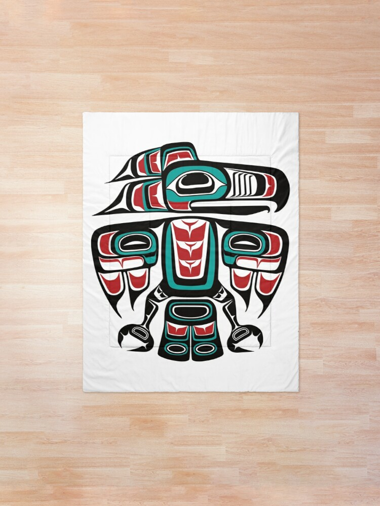 Alternate view of Haida Tlingit Native Raven Totem Comforter
