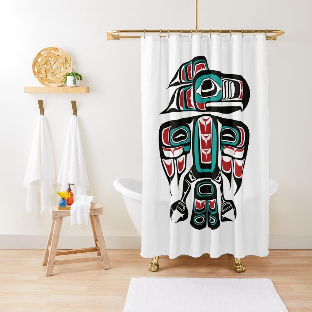 Haida Tlingit Native Raven Totem Shower Curtain