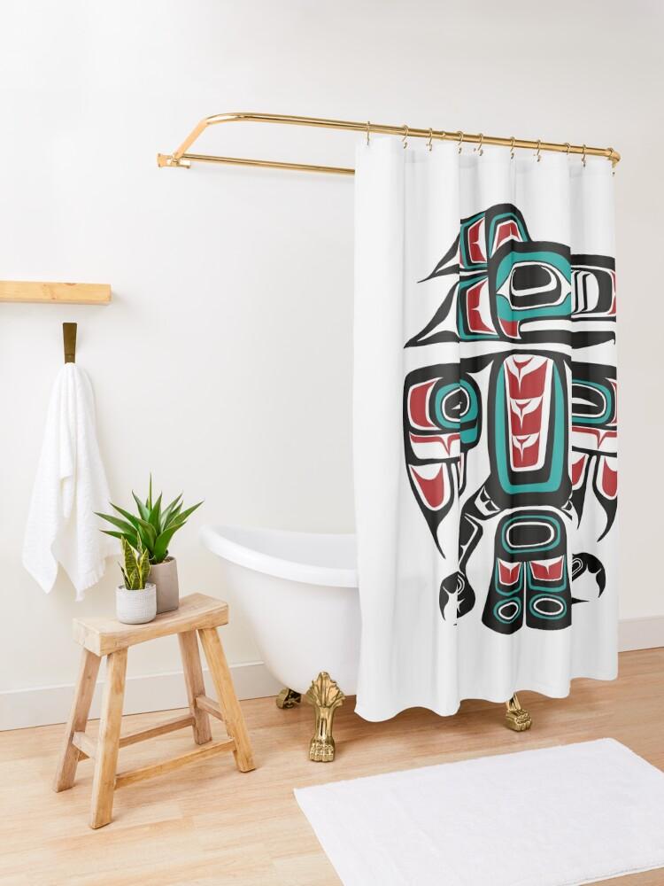 Alternate view of Haida Tlingit Native Raven Totem Shower Curtain