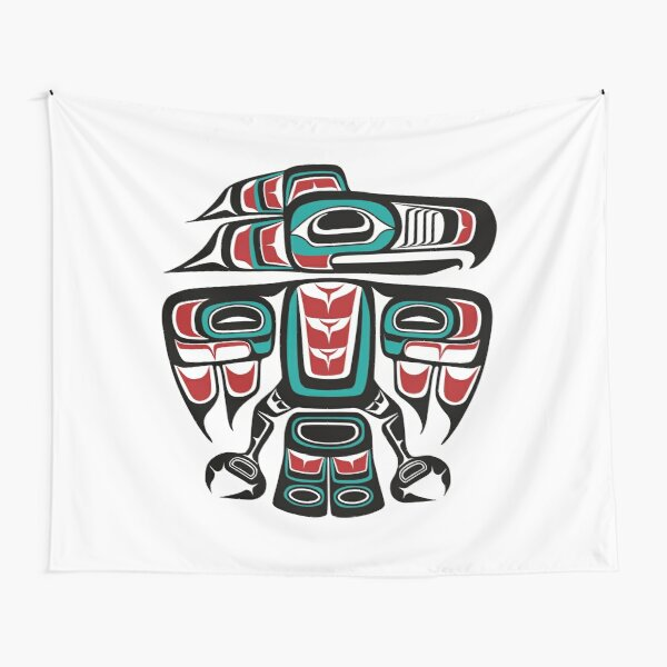 Haida Tlingit Native Raven Totem Tapestry