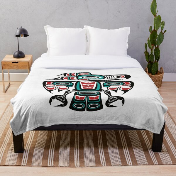 Haida Tlingit Native Raven Totem Throw Blanket