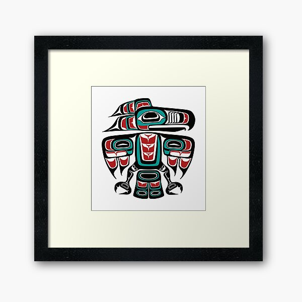 Haida Tlingit Native Raven Totem Framed Art Print
