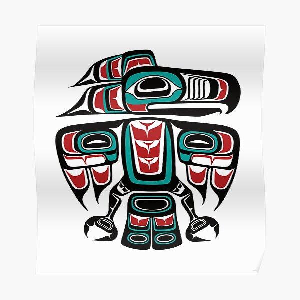 Haida Tlingit Native Raven Totem Poster