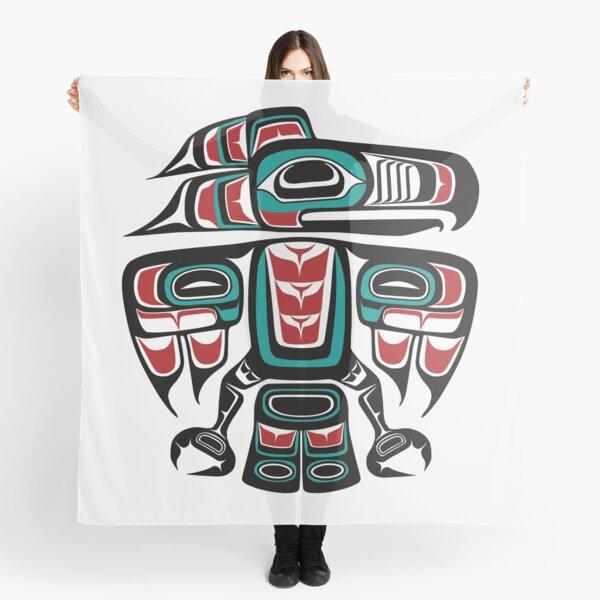Haida Tlingit Native Raven Totem Scarf