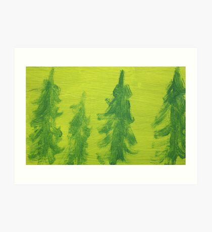 Impression Green Land Pine Trees Art Print