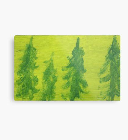Impression Green Land Pine Trees Metal Print
