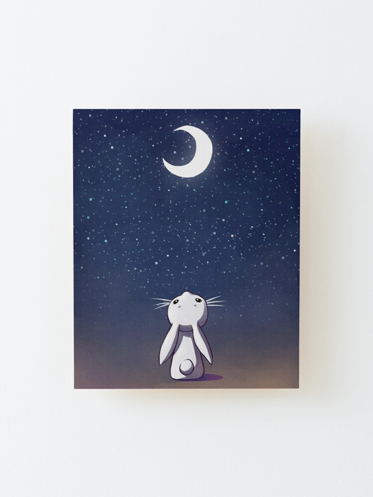 Alternate view of Moon Bunny Mounted Print