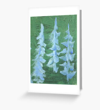Impression Snowy PIne Trees Greeting Card