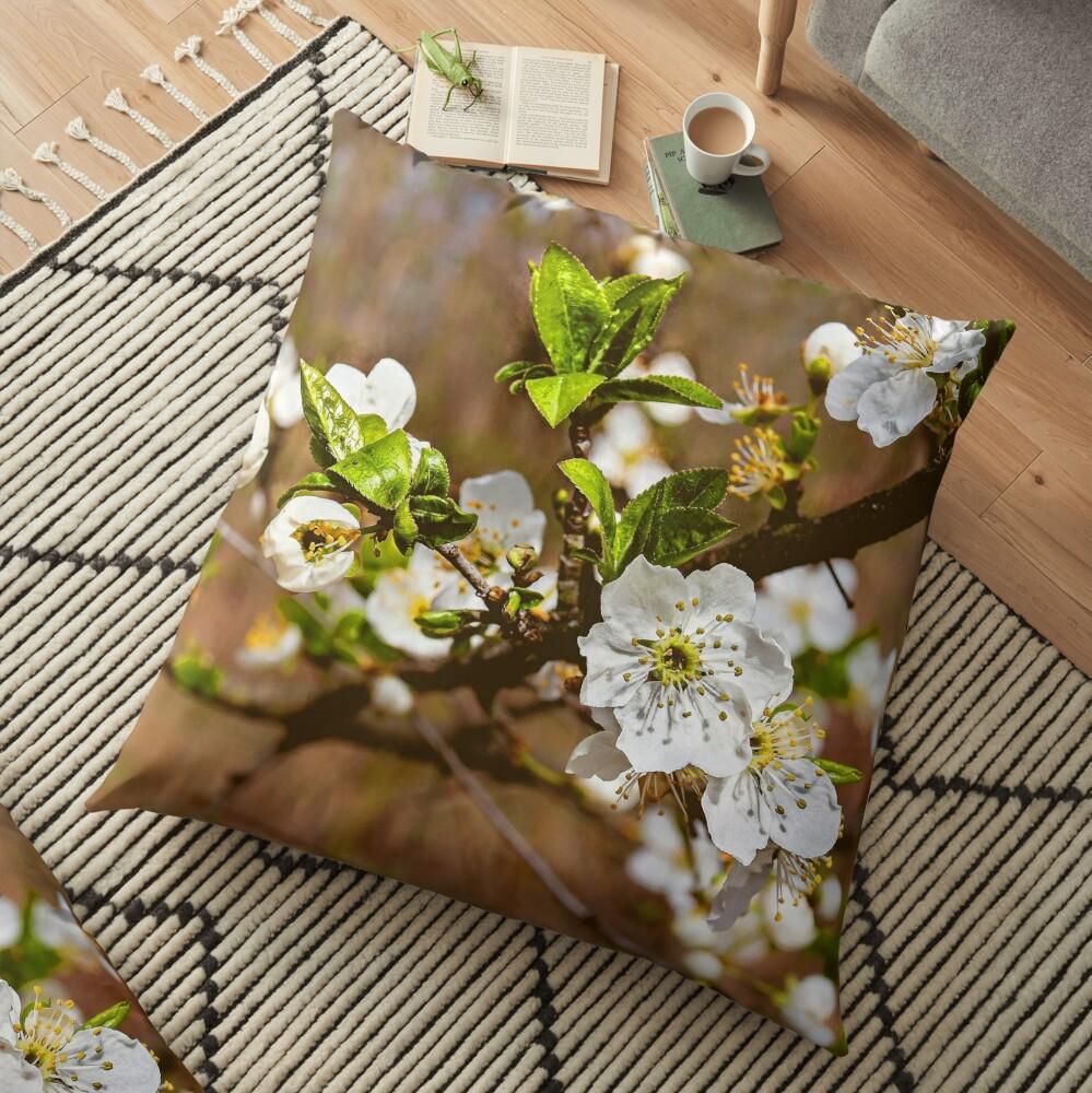 spring motif flower, plum flowers Floor Pillow
