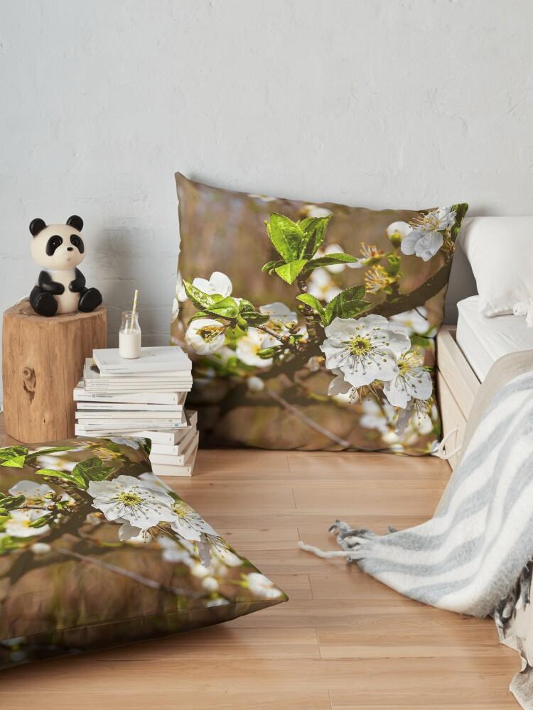 Alternate view of spring motif flower, plum flowers Floor Pillow