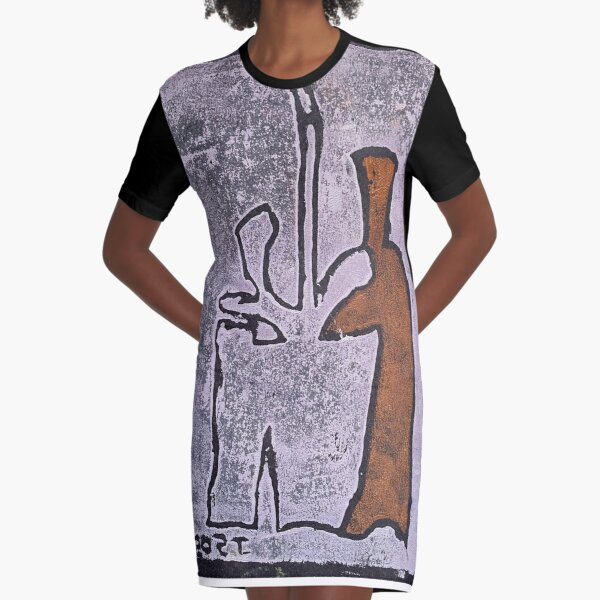 Orange Bottle Pink Plant Graphic T-Shirt Dress